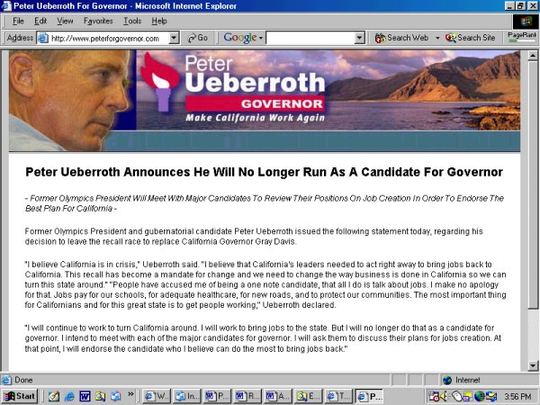 New homepage www.peterforgovernor.com: no longer running for Governor